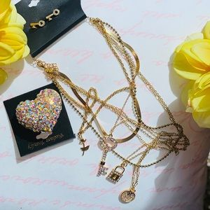 Layered necklace,earrings and ring bundle